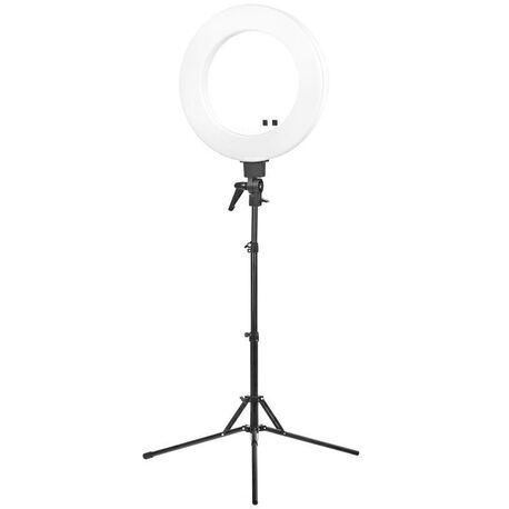 LAMPA PIERŚCIENIOWA RING LIGHT 18 48W LED BIAŁA + STATYW